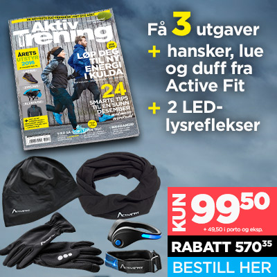 Aktiv Trening + Active Fit: hansker, buff, lue & 2 LED-reflekser.