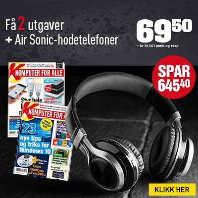 Komputer for alle + Bluetooth Air Sonic-hodetelefoner.