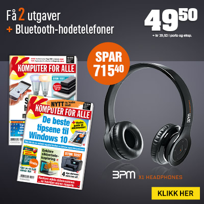 Komputer for alle + BPM X1 Bluetooth-hodetelefoner.