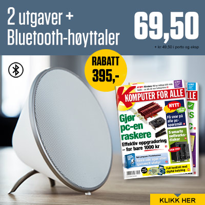 Komputer for alle + Sonitum Bluetooth-høytaler.